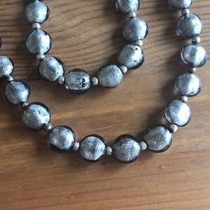 Jewelry - Silver glass bead Necklace & Bracelet Set